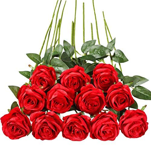 Tifuly 12 PCS Künstliche Rosen, 19,68 '' Single Long Stem Fake Rose Seide Braut Hochzeitsstrauß Realistische Blume für Hausgarten Party Hotel Büro Dekor (Blossom Roses, Rot)