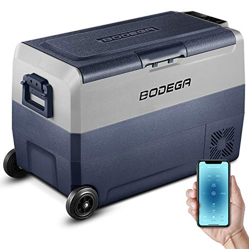 BODEGA 12 Volt Refrigerator Portable Freezer Car Fridge Dual Zone APP Control 53 Quart(50L)-4℉-68℉ RV Electric Compressor Cooler 12/24V DC and 100-240V AC for Outdoor, Vehicles, Camping, Travel