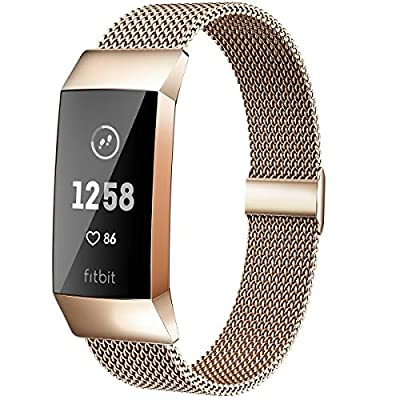 MioHHR Metal Bands Compatible with Fitbit Charge 3 / Charge 4 Bands for Women Men, Breathable Stainless Steel Replacement Wristband Accessories for Charge 3 SE Fitness Activity Tracker, Champagne