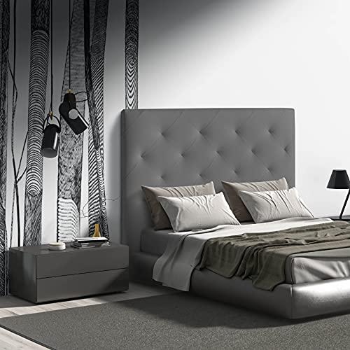 MOMMA HOME Cabecero de Cama en Polipiel - Modelo MYRO - Cabecero tapizado en ecopiel - Cabecero Acolchado - Incluye herrajes para Colgar - 9cm Ancho (Gray, 160 x 120 x 9 cm)