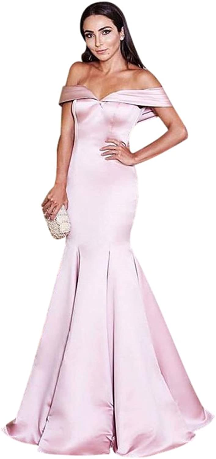 XJLY Shoulder Mermaid Satin Prom Dress Formal Gowns