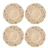 HERCHR Apliques de Madera de 4 Piezas de 3.9 Pulgadas, calcomanía de incrustación Tallada de Forma Redonda para Ventana de Puerta de Muebles