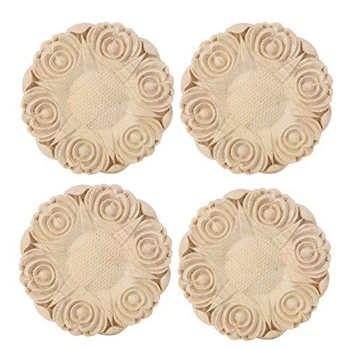 Redxiao Aplique de Muebles, C Adorno de decoración de gabinete de Muebles para el hogar 3.9 x 0.4 in 4 Piezas de Aplique Tallado, gabinete para Ventana de casa
