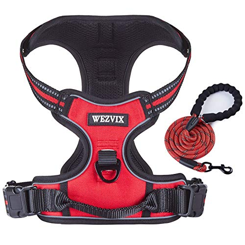 WEZVIX Dog Harness and Leash Set, Pet Harness with Leash Adjustable Outdoor Pet Vest Set Reflective Oxford Material Vest Harness for Small Medium Large Dogs Easy to Control