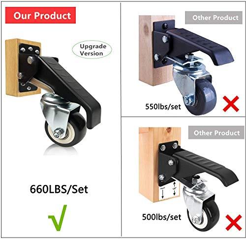 51QcSsBdC9L - 4 ruedas para banco de trabajo, ruedas giratorias con freno, 300 kg, chapa de acero, ruedas para muebles, resistentes, retráctiles