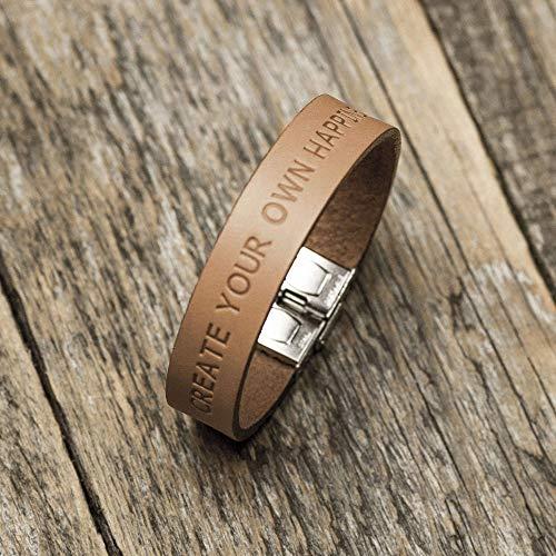 Brazalete personalizada de cuero italiano marrón, grabe su nombre, coordenadas...
