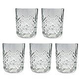 5 Vasos Cristal Vidrio 250cl para Licores Licorera Decantador Whisky Vintage Set Vaso Coñac Brandy Tallado Jarra Licor Diseño Clasica Transparente Vino Vozka Chupitos Botellas Regalo Decoracion