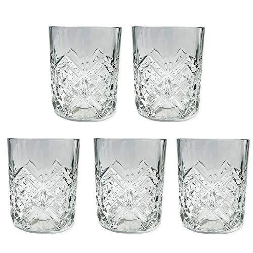 5 Vasos Cristal Vidrio 250cl para Licores Licorera Decantador Whisky Vintage Set...