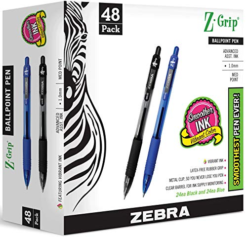 ZEBRA PENS bulk pack of 48 ink pens, Z-Grip Retractable ballpoint pens Medium point 1.0 mm, 24 black pens & 24 Blue pens combo pack