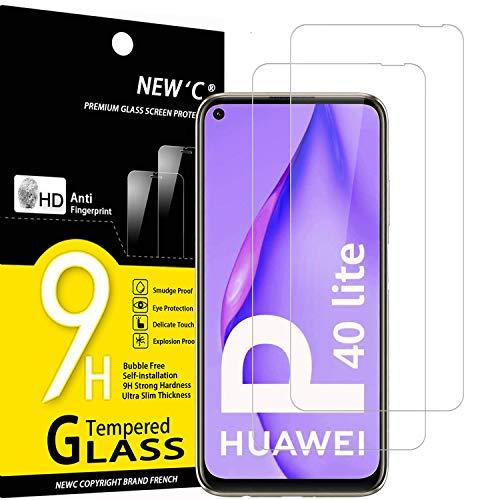 NEW'C 2 Stück, Schutzfolie Panzerglas für Huawei P40 Lite, Frei von Kratzern, 9H Festigkeit, HD Bildschirmschutzfolie, 0.33mm Ultra-klar, Ultrawiderstandsfähig