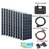 YUANFENGPOWER 1000w 12v panel solar 10pcs 100w celda de módulo de cristal único controlador de inversor de 2000w para barco caravana cargador de 12V