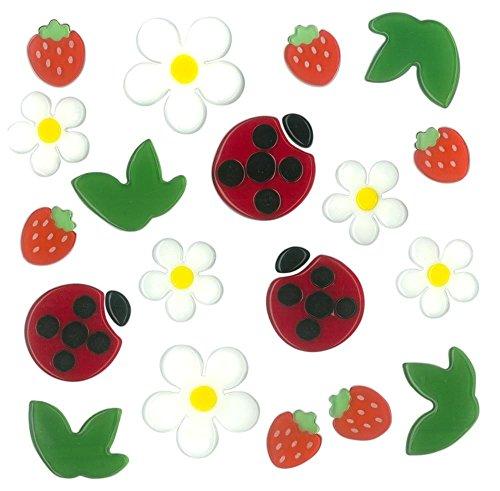 MagicGel Fensterbilder - Marienkäfer und Erdbeeren, Fensterdeko, Spiegeldeko