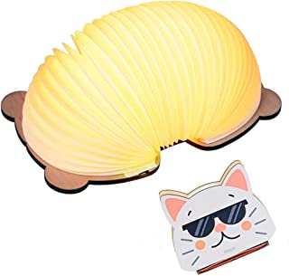 BOSQUEEN Cartoon Book Lamp, Novelty LED Night Light for Kids ,Folding Table Lamp for Birthday Home Decor Bathroom Office Meeting Room Living Room (Cat)