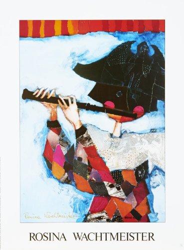 Rosina Wachtmeister - von der Künstlerin handsigniert - Hochwertiger Kunstdruck - ARLECINO FLAUTISTA - 46x62 cm - Mixed Media mit Metall-Folien Veredelung-