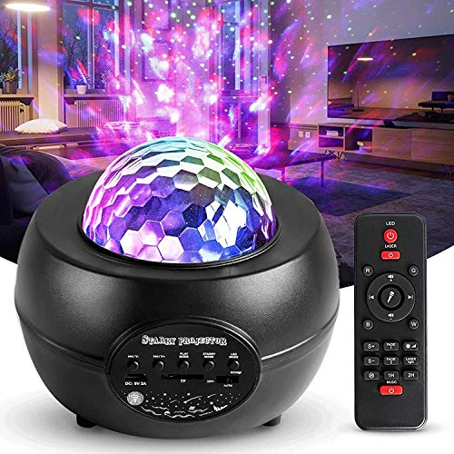 LED Projektor Sternenhimmel Lampe, Swonuk Ozeanwellen Projektor mit Fernbedienung/Bluetooth Lautsprecher/3 Helligkeitsstufen/Auto-off-Timer Sternprojektor für Kinderzimmer, Partys, Geschenke
