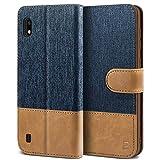 BEZ Handyhülle für Samsung Galaxy A10 Hülle, Tasche Kompatibel für Samsung Galaxy A10, Schutzhüllen aus Klappetui mit Kreditkartenhaltern, Ständer, Magnetverschluss, Blaue Marine