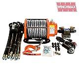Winchmax 20.000lb (9072kg) Argano idraulico arancione originale con corda Dyneema, sistema di controllo completo