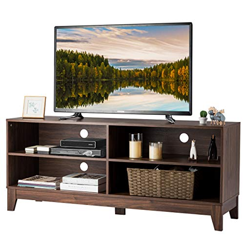 """Tangkula Wooden TV Stand, Rustic Style Universal Stand for TV's up to 60"""" Flat Screen, Home Living Room Storage Console Entertainment Center, 58 Inch TV Stand (Walnut)"""