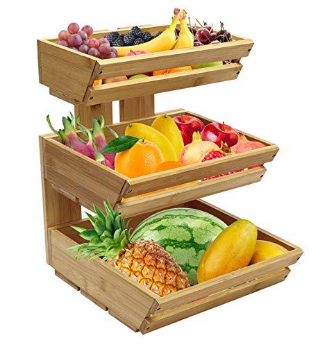 Cesto per frutta a 3 ripiani in bambù, supporto per frutta e verdura, perfetto per frutta, verdura, snack