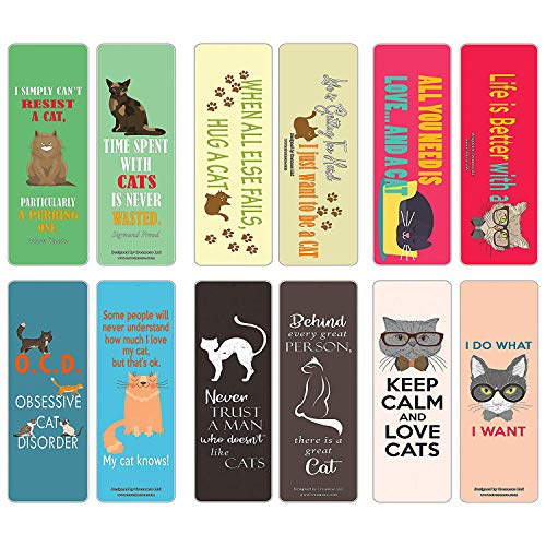 Creanoso Cat Bookmark (60-Pack) - Inspiring Bookmarkers for Men, Women, Teens, Cat Owners – Six Assorted Quality Cat Themed Bookmarks Bulk Set – Premium Gift Stocking Stuffers