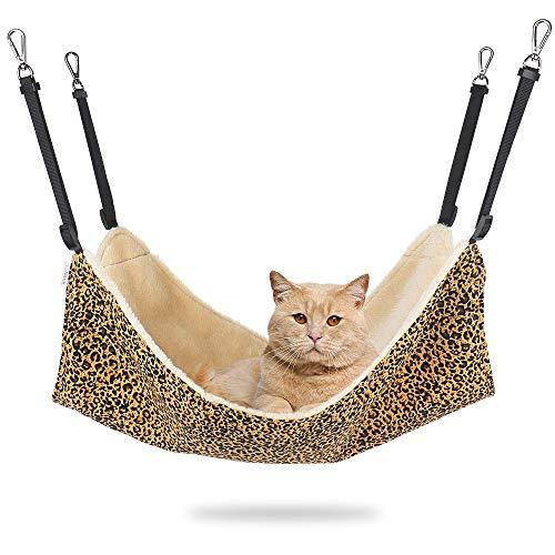 EONMIR 2Pack Cat Hammock for Cage, Adjustable-Strap/Load Capacity 30 lb, Soft Pet Bed Fit Ferret,...
