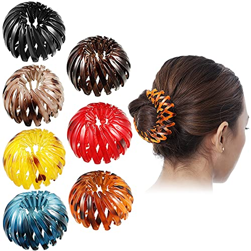 8 Pieces Birds Nest Hair Clips, Hair Claw Clamps Expandable Pony Tail Holders Hair Retro Leopard Print Hairstyle Headbands Maker Hair Styling Tools with Hair Comb Set for Women Girls retractable ponytail hair clip