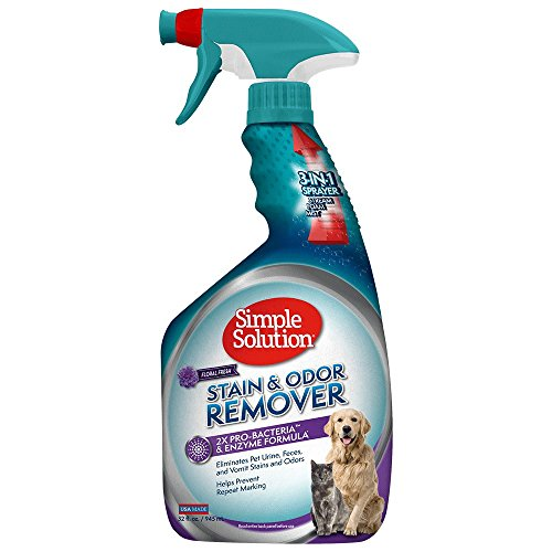 Simple Solution Pet Stain and Odor Remover   Enzymatic Cleaner with 2X Pro-Bacteria Cleaning Power   Floral Fresh, 32 Ounces