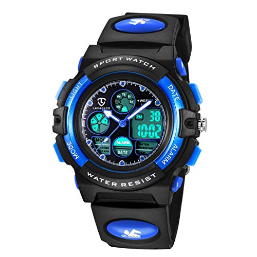 Digital Uhren für Kinder Jungen-Wasserdicht Sport Outdoor Silikon Armbanduhr mit Alarm/Stoppuhr/LED Licht/Datum