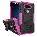pinlu® Funda para LG V20 Smartphone Doble Capa Híbrida Armadura Silicona TPU + PC Armor Heavy Duty Case Duradero Protección Neumáticos Patrón Rose Red