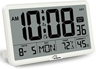 WallarGe Digital Wall Clock, Autoset Desk Clocks with Temperature, Humidity and Date, Battery Operated Digital Wall Clock Large Display, 8 Time Zone, Auto DST. (White)