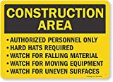 SmartSign 'Construction Area - Authorized Personnel Only, Hard Hats Required' Sign | 10' x 14' Aluminum