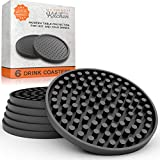 Large Drink Coasters – Absorbs Moisture and Prevents Table Damage, Modern Black Rubber Coaster with Non-Slip Bottom for Drinking Glasses, 6 Pack