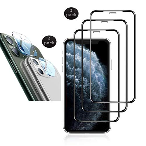 [5 Pack] 2 Pack Camera Lens Protector for iPhone 11 Pro and 3 Pack Screen Protector for iPhone 11 PRO Tempered Glass [New Version] Add Cameras Flash Circle for iPhone 11 Pro (5.8 inch)