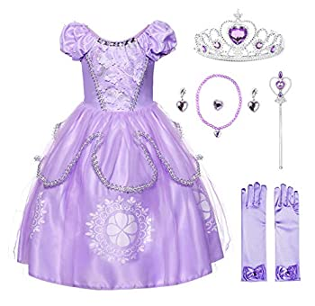 JerrisApparel Girls Princess Costume Floor Length Christmas Party Dress up  3T Lilac with Accessories