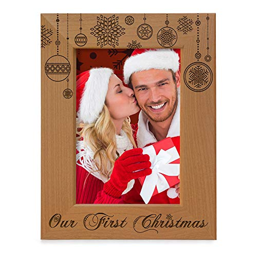 KATE POSH - Our First Christmas Engraved Natural Wood Picture Frame - First Christmas Together Gifts, First Christmas as Husband and Wife, Gifts for Newlyweds, for Couples (5x7-Vertical)