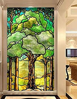 GM Tree of Life Privacy Windows Film Stained Glass Window Stickers Static Cling Decorative Frosted Window Films UV Blocking Muted Colors Window Coverings 34.6 x78.74  88x200cm