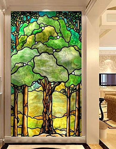 GM Tree of Life Privacy Windows Film Stained Glass Window Stickers Static Cling Decorative Frosted Window Films UV Blocking Muted Colors Window Coverings 27.56