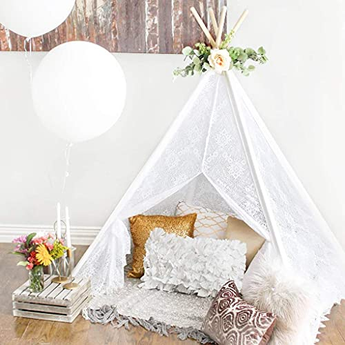 of aerwo party favors dec 2021 theres one clear winner Tiny Land Kids Teepee Tent- Children Play Tent- Boho Lace Tipi Sheer Canopy for Wedding, Party, Photo Prop