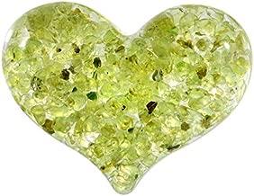 Yatming 6 PC Tumbled Peridot Stone Love Heart Crystals, Resin Pocket Worry Palm Stonesfor Healing