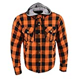 Milwaukee Leather MPM1642 Men's Orange and Black Armored Long Sleeve Hooded Flannel Shirt with Kevlar - 2X-Large