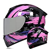 Casco Moto Mujer Integral, Casco Integral De Moto Estilo Retro Mujer Hombre Casco De Motocicleta Con Doble Visera DOT/ECE Homologado Casco De Protección Juventud Unisex Pink 3,L