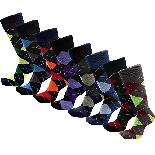 Lords Mens Cotton Dress Socks (12 Pack) (10-13, Argyle-2)