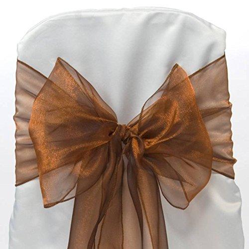 Paquete de 50 Silla Organza Completo Lazo Bandas - Semi-Transparente Tela Cubiertas con Minimal Sheen - Adecuado para Banquetes Bodas,Recepciones,Celebraciones, y Eventos   Bronce