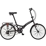 DULPLAY 20 Inch 6 Speed Folding Bike,Lightweight City Bicycle,Foldable Bicycle,Full Suspension Unisex Black 20...