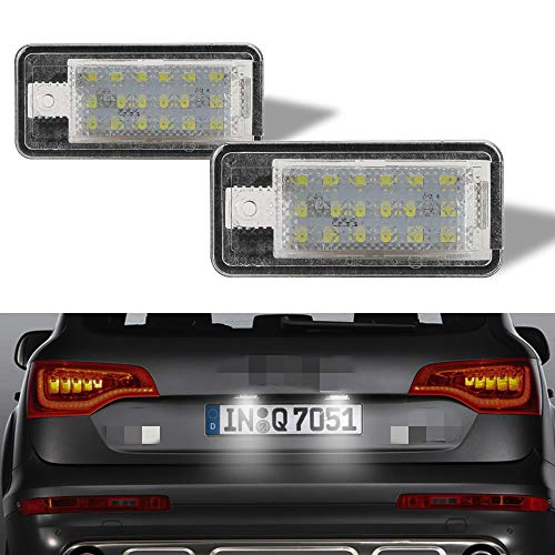 License Plate Light Lamp 18 SMD 2Pcs Full LED Error Free Assembly Replacement for A UDI A3 S3 A4 S4 A5 S5 A6 S6 A8 S8 Q7 Cool White