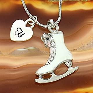 Personalized Figure Skate Necklace Sparkling Clear Crystal White Ice Skate Shoe Pendant Customizable Hand Stamped Initial Letter Silver Heart Custom Charm Chain Gift Jewelry