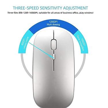 Cigooxm undefined HXSJ M90 Dual Mode Wireless Mouse BT5.0 2.4G Óptico Ratón Ergonómico Recargable 1600DPI (Blanco), Plateado), BCM8125518289246VP