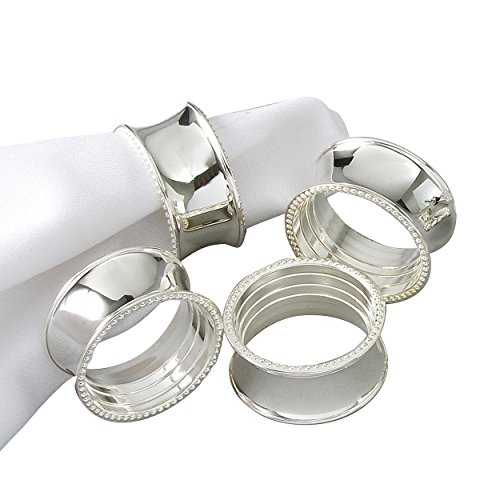 Elegance Beaded Round Napkin Rings, Silver-Plated, Set of 4