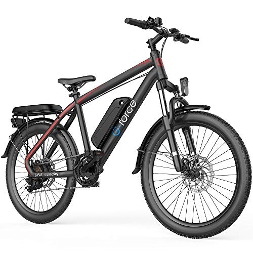 G-Force S21 Electric Bike,26''Mountain Bike,250W brushless Motor, 48V 10.4A Large Capacity Battery,Max Speed 25MPH,Max Range 35 Miles,with Shimano 7-Speed Electric Bike for Adults