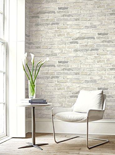 Faux Rustic Brick Wallpaper (Gray & White)